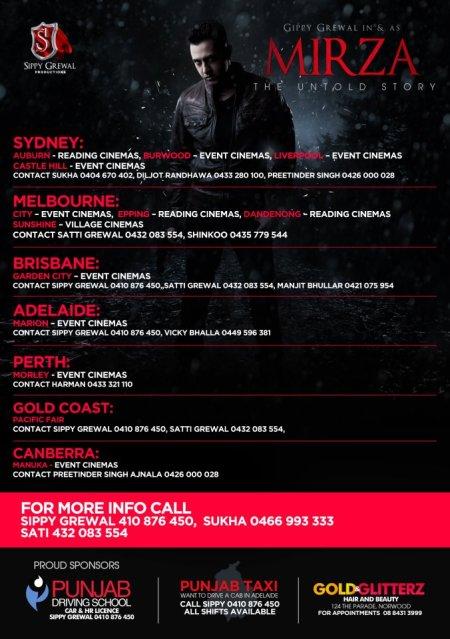 Mirza Hitting Cinemas On 5th April 2012 Cinemas Locations For Australia