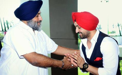 Diljit Dosanjh With S. Sukhbir Singh Badal