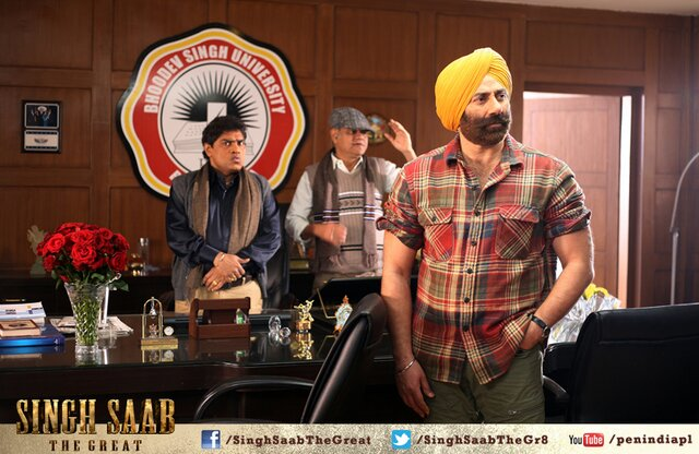 New Still from Singh Saab ThHere is the New Still from Singh Saab The Great Movie Featuring Sunny Deol & Johny Lever.e Great Ft. Sunny Deol & Johny Lever